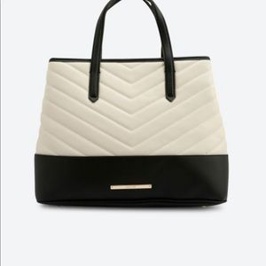 Nine West Black and Cream Quilted Satchel